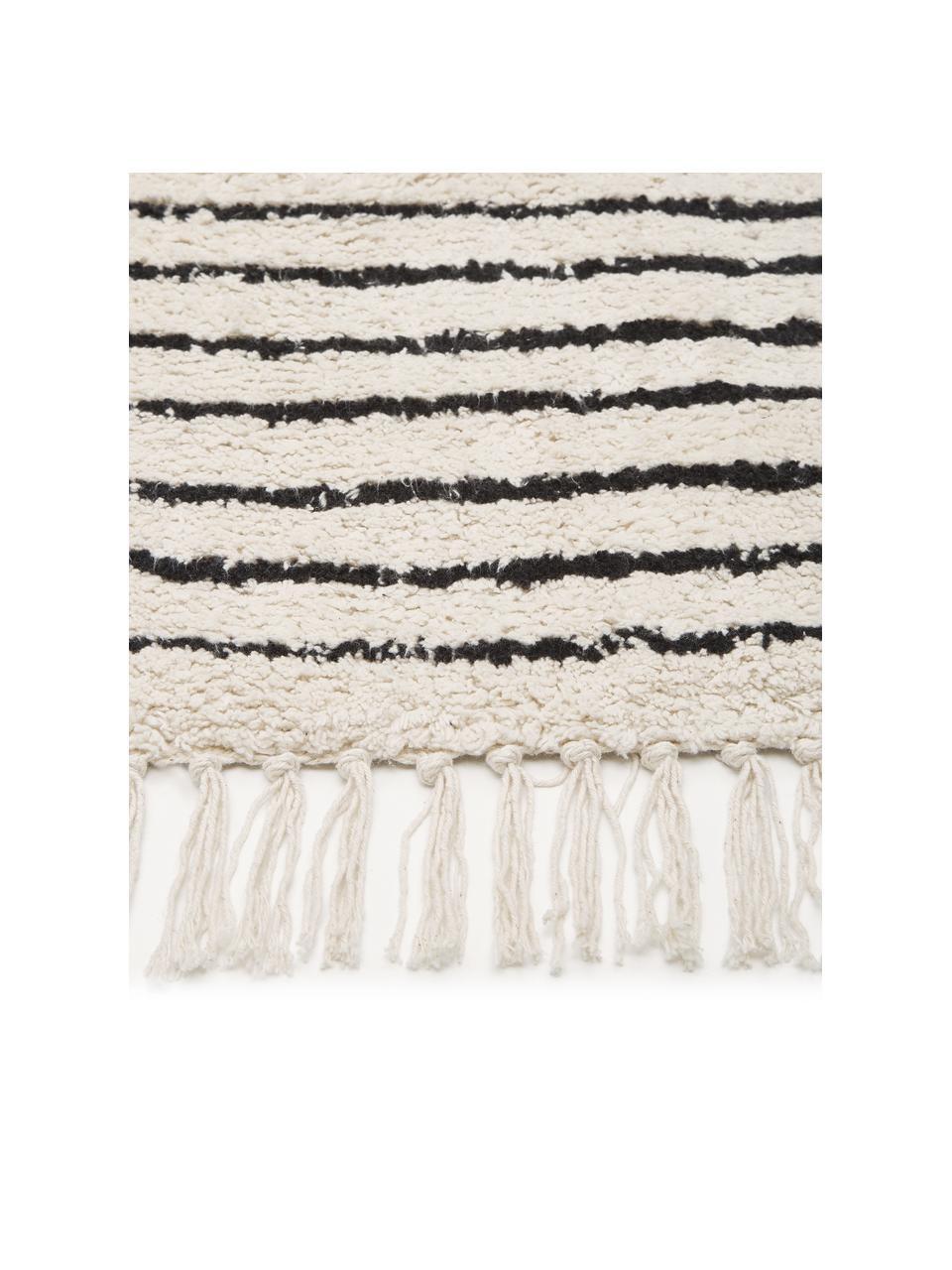Handgeweven katoenen boho vloerkleed Lines met franjes, 100% katoen, Beige, zwart, B 120 x L 180 cm (maat S)