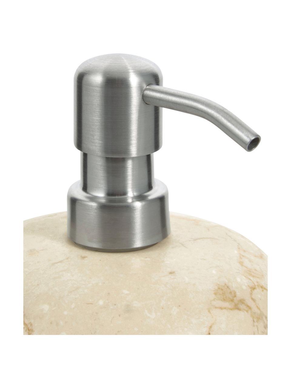 Dosatore di sapone in marmo Luxor, Testa della pompa: acciaio inossidabile, Beige, acciaio, Ø 12 x A 13 cm