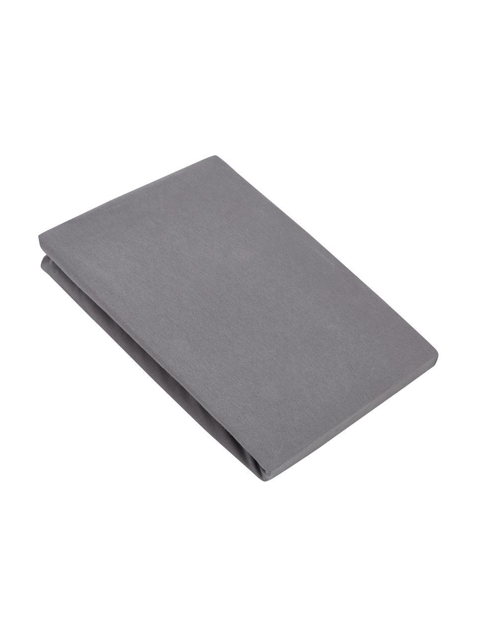 Lenzuolo con angoli in jersey-elastan grigio scuro Lara, 95% cotone, 5% elastan, Grigio scuro, Larg. 200 x Lung. 200 cm