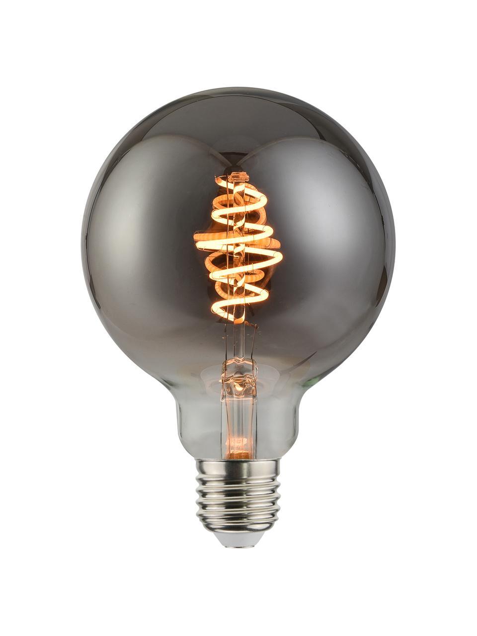 E27 Leuchtmittel, 140lm, dimmbar, warmweiß, 1 Stück, Leuchtmittelschirm: Glas, Leuchtmittelfassung: Metall, Grau, transparent, Ø 10 x H 14 cm