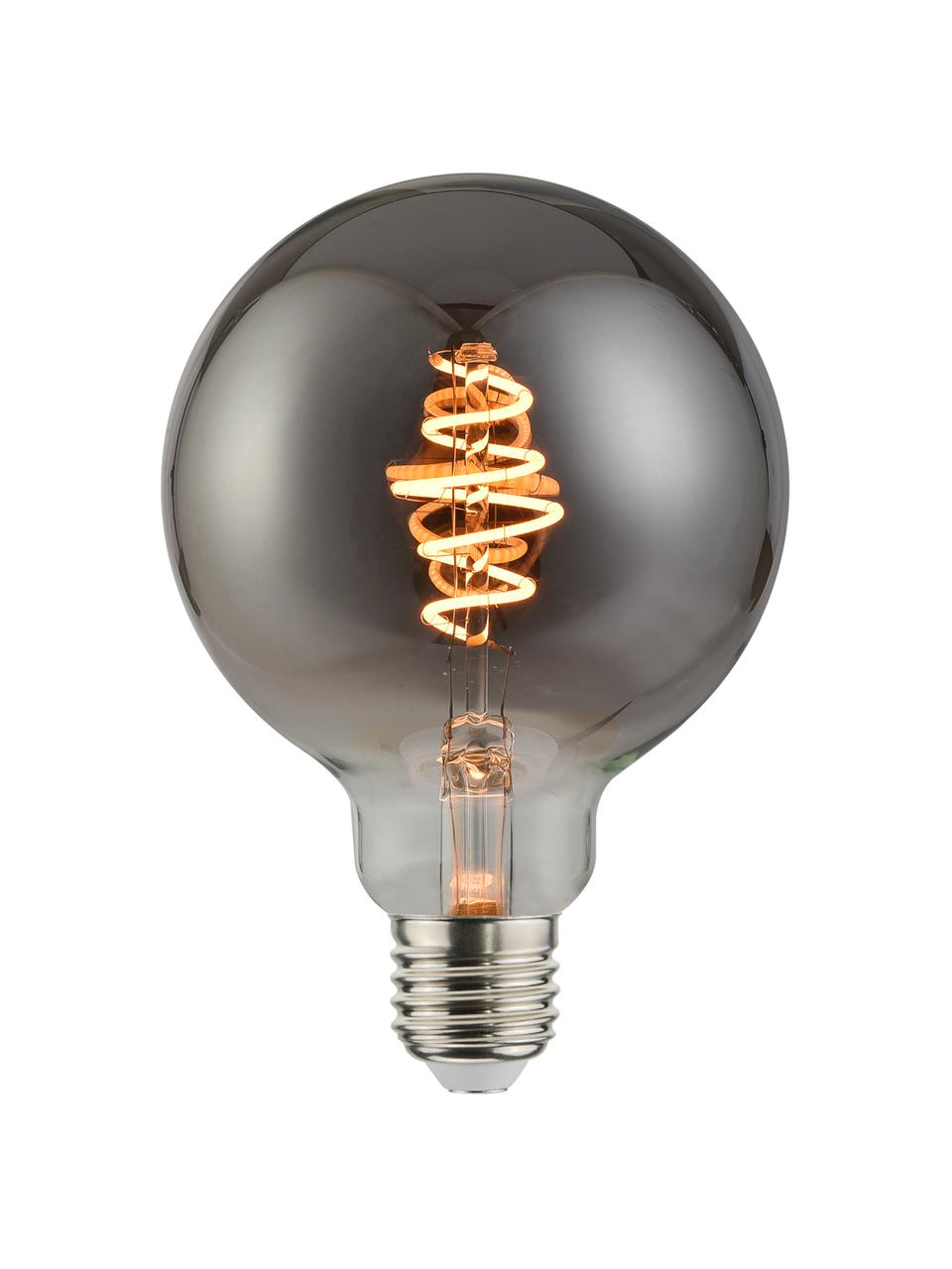 Lampadina E27, 140lm, dimmerabile, bianco caldo, 1 pz, Paralume: vetro, Base lampadina: metallo, Grigio trasparente, Ø 10 x Alt. 14 cm