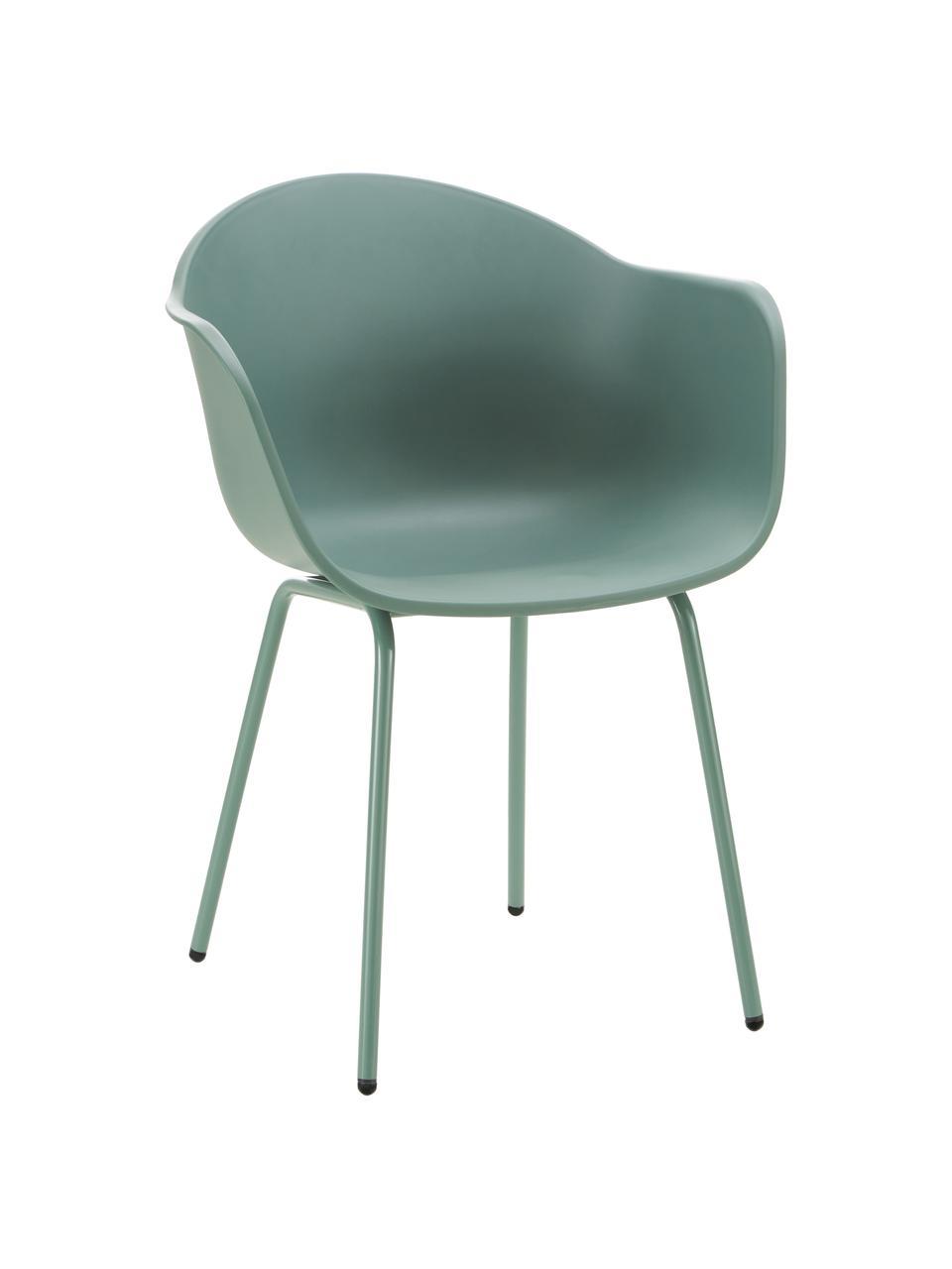 Gartenstuhl Claire in Grün, Sitzschale: 65% Kunststoff, 35% Fiber, Beine: Metall, pulverbeschichtet, Grün, B 60 x T 54 cm
