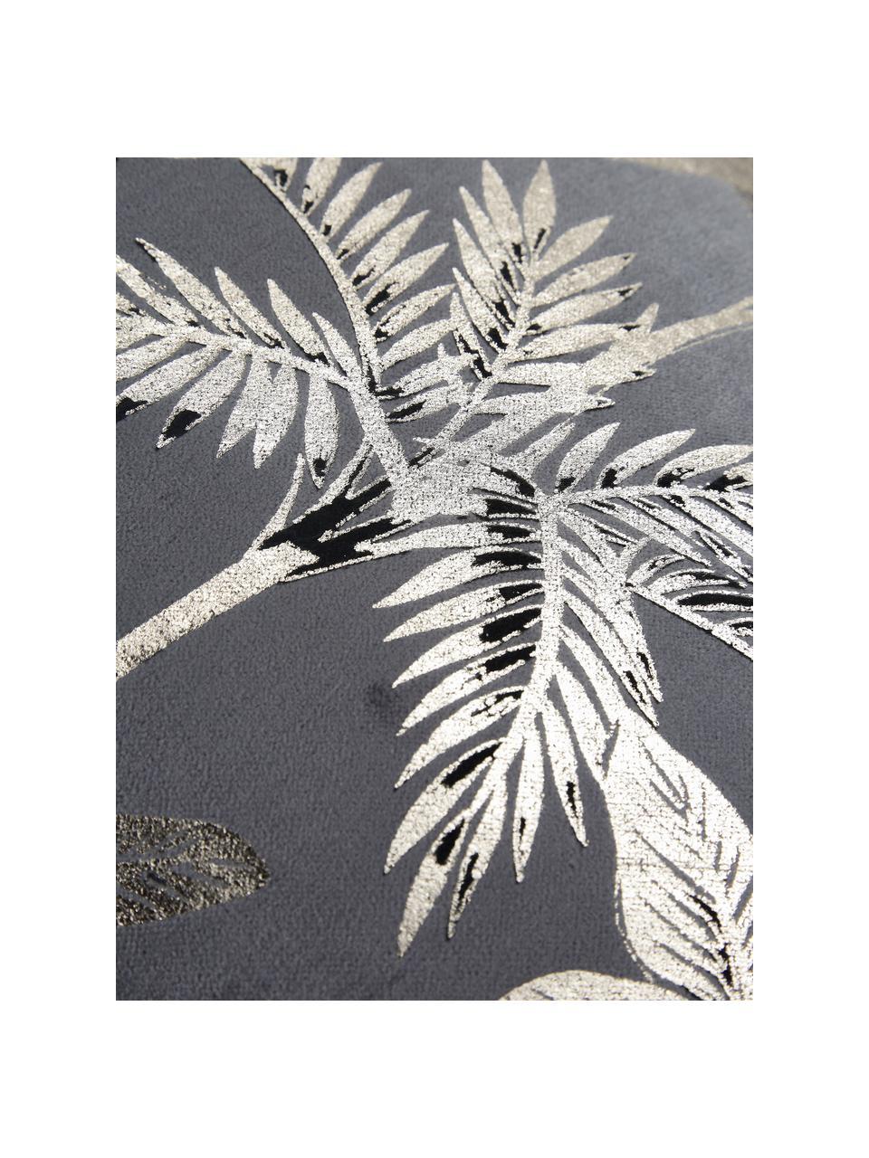 Coussin rectangulaire velours Palm, Gris