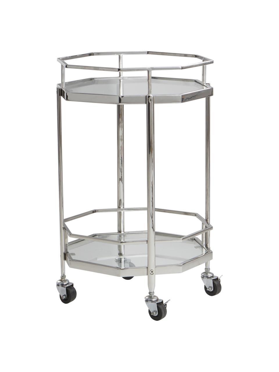 Wózek barowy z metalu i szkła Bilbao, Stelaż: metal chromowany, Chrom, transparentny, Ø 48 x W 76 cm