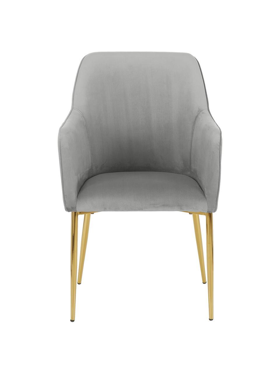 Samt-Armlehnstuhl Ava in Grau, Bezug: Samt (100% Polyester) Der, Beine: Metall, galvanisiert, Samt Grau, B 57 x T 63 cm