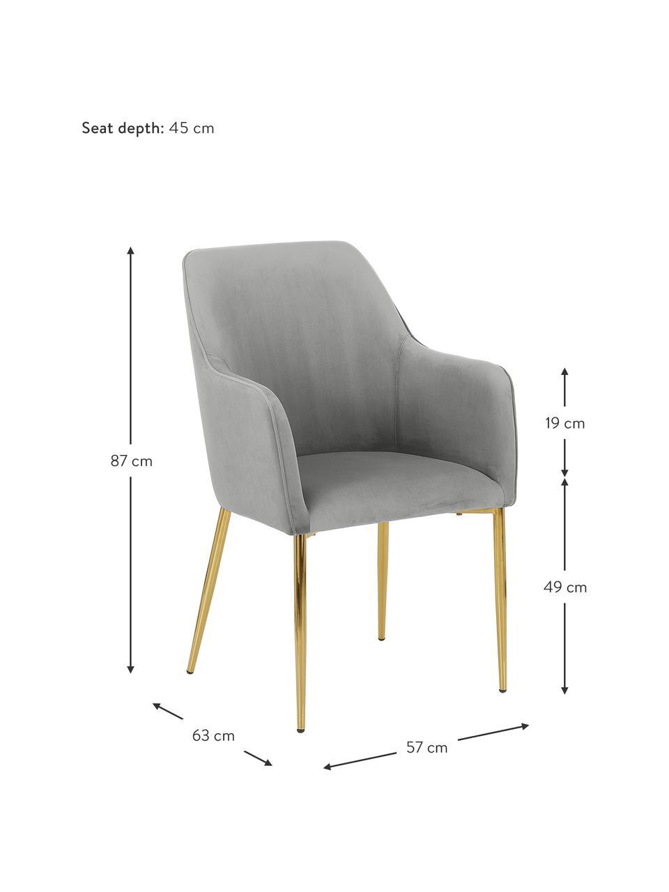 Krzesło z podłokietnikami z aksamitu Ava, Tapicerka: aksamit (100% poliester) , Nogi: metal galwanizowany, Aksamitny szary, S 57 x G 63 cm