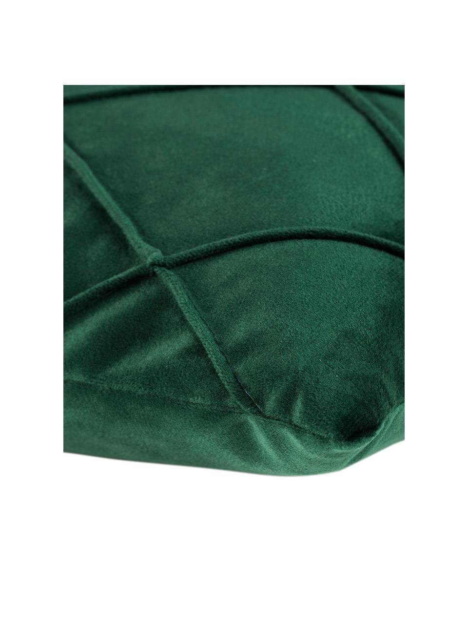 Fluwelen kussenhoes Nobless in groen met verhoogd ruitjesmotief, 100% polyester fluweel, Groen, 40 x 40 cm
