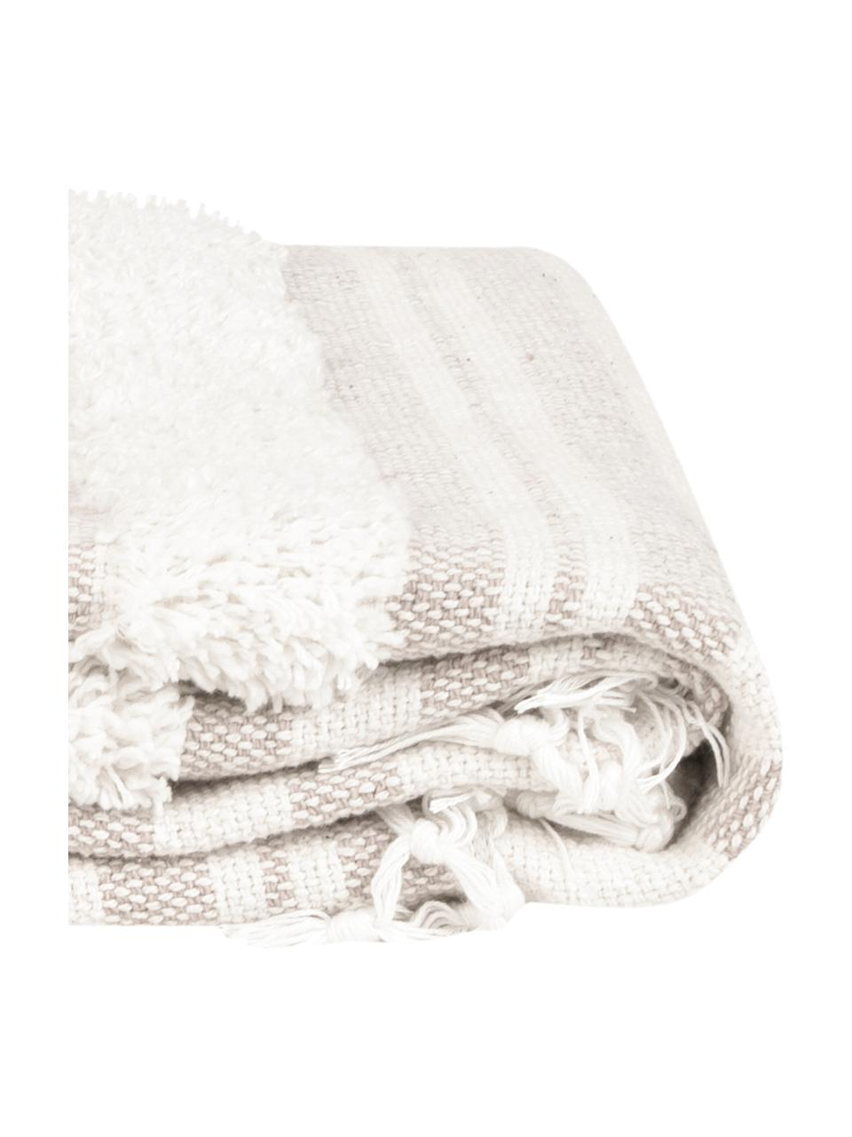 Baumwolldecke Nara mit Fransen in Creme/Beige, 100% Baumwolle, Cremeweiß, Beige, 130 x 170 cm