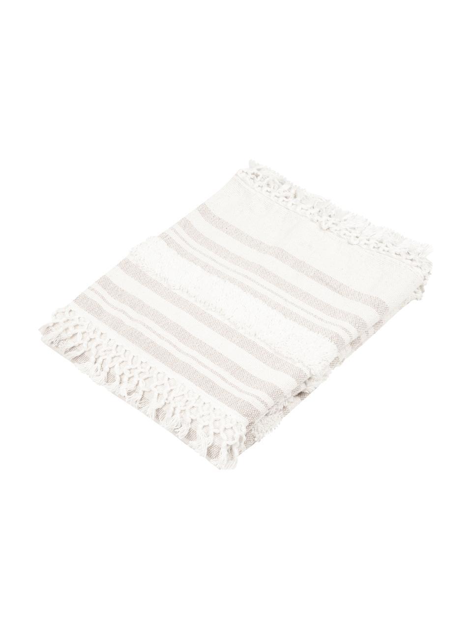 Koc z bawełny z frędzlami Nara, 100% bawełna, Kremowobiały, beżowy, S 130 x D 170 cm