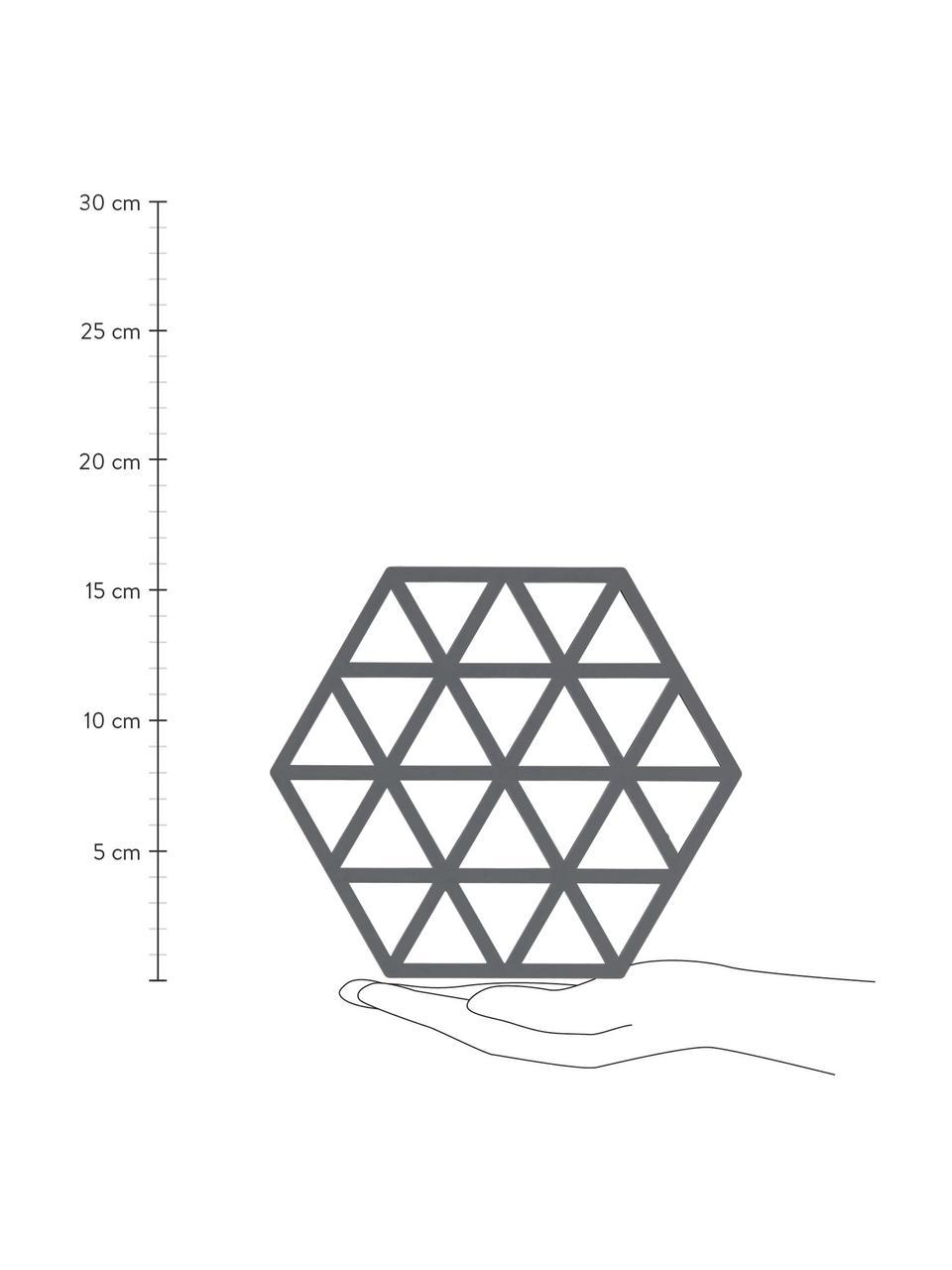 Silikon Topfuntersetzer Triangle in Grau, 2 Stück, Silikon, Grau, 14 x 16 cm