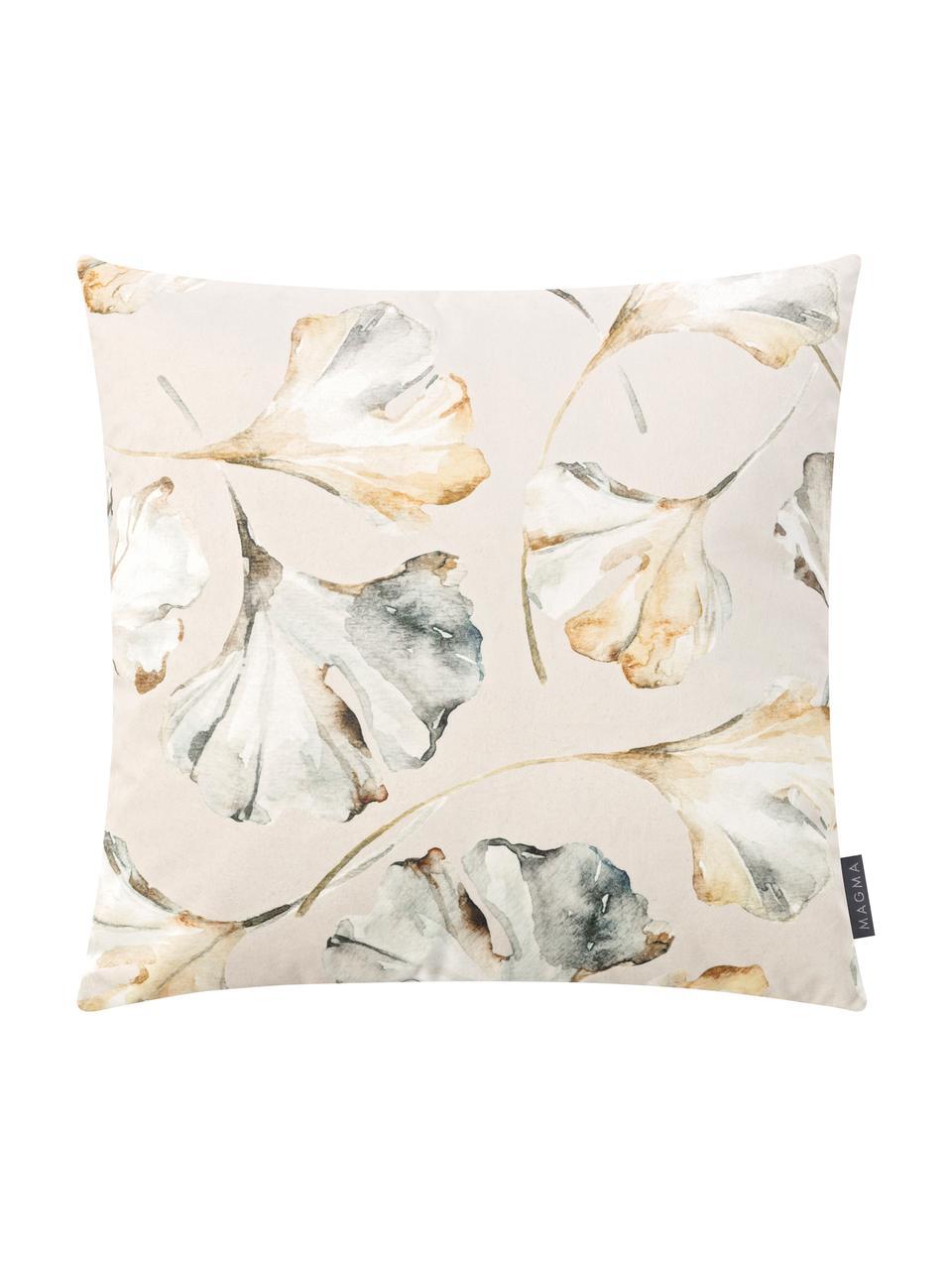 Samt-Wendekissenhülle Flores mit Ginkgo-Print, 100% Polyestersamt, Beige, Mehrfarbig, 50 x 50 cm