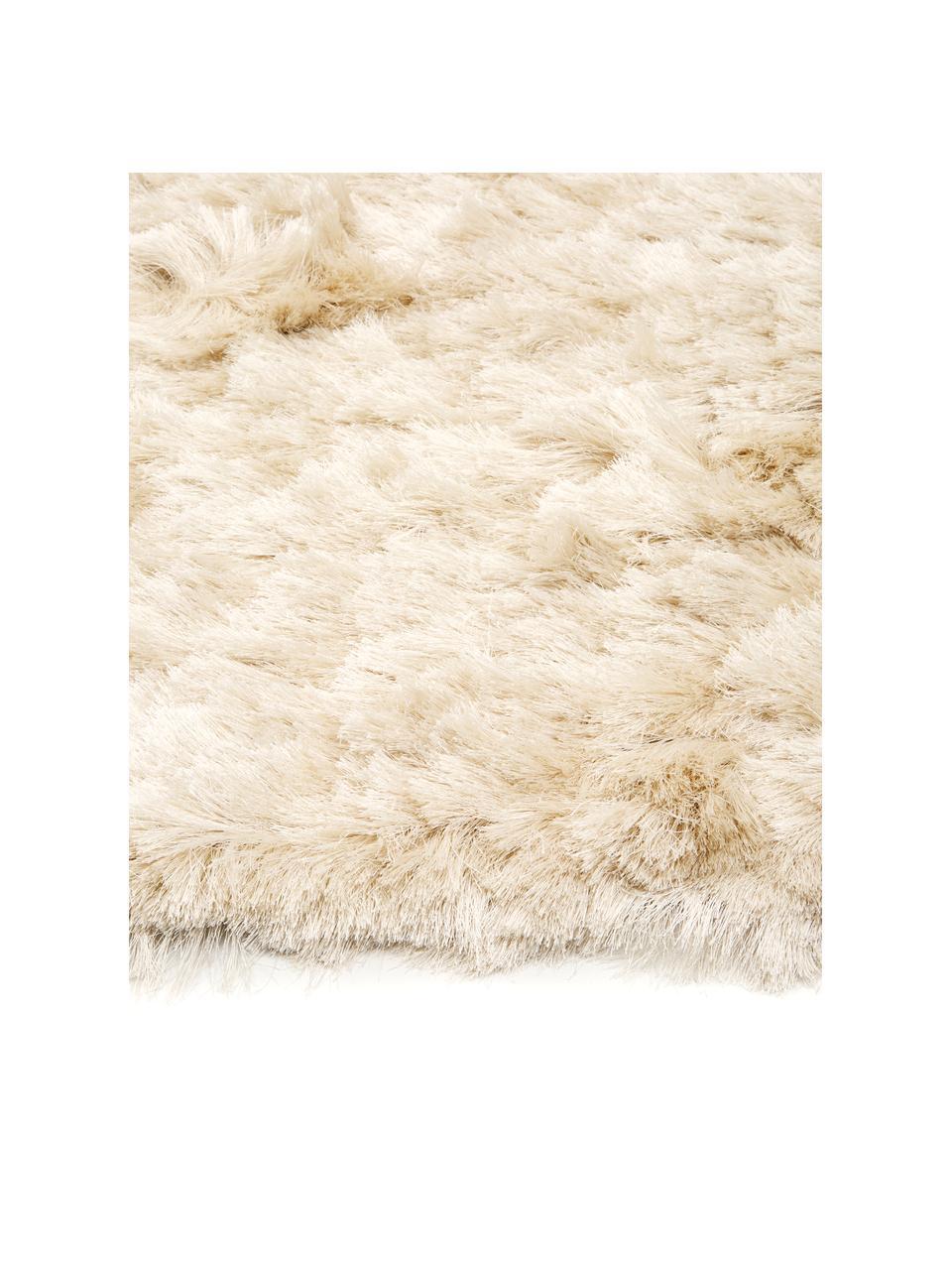 Glanzend hoogpolig vloerkleed Jimmy in ivoorkleur, Bovenzijde: 100% polyester, Onderzijde: 100% katoen, Ivoorkleurig, B 300 x L 400 cm (Maat XL)