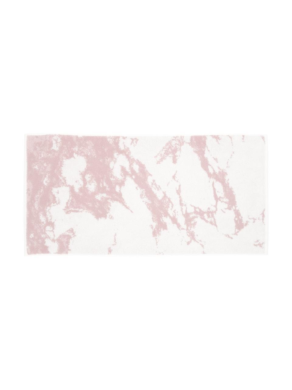 Handdoekenset Malin met marmer-print, 3-delig, Roze, crèmewit, Set met verschillende formaten
