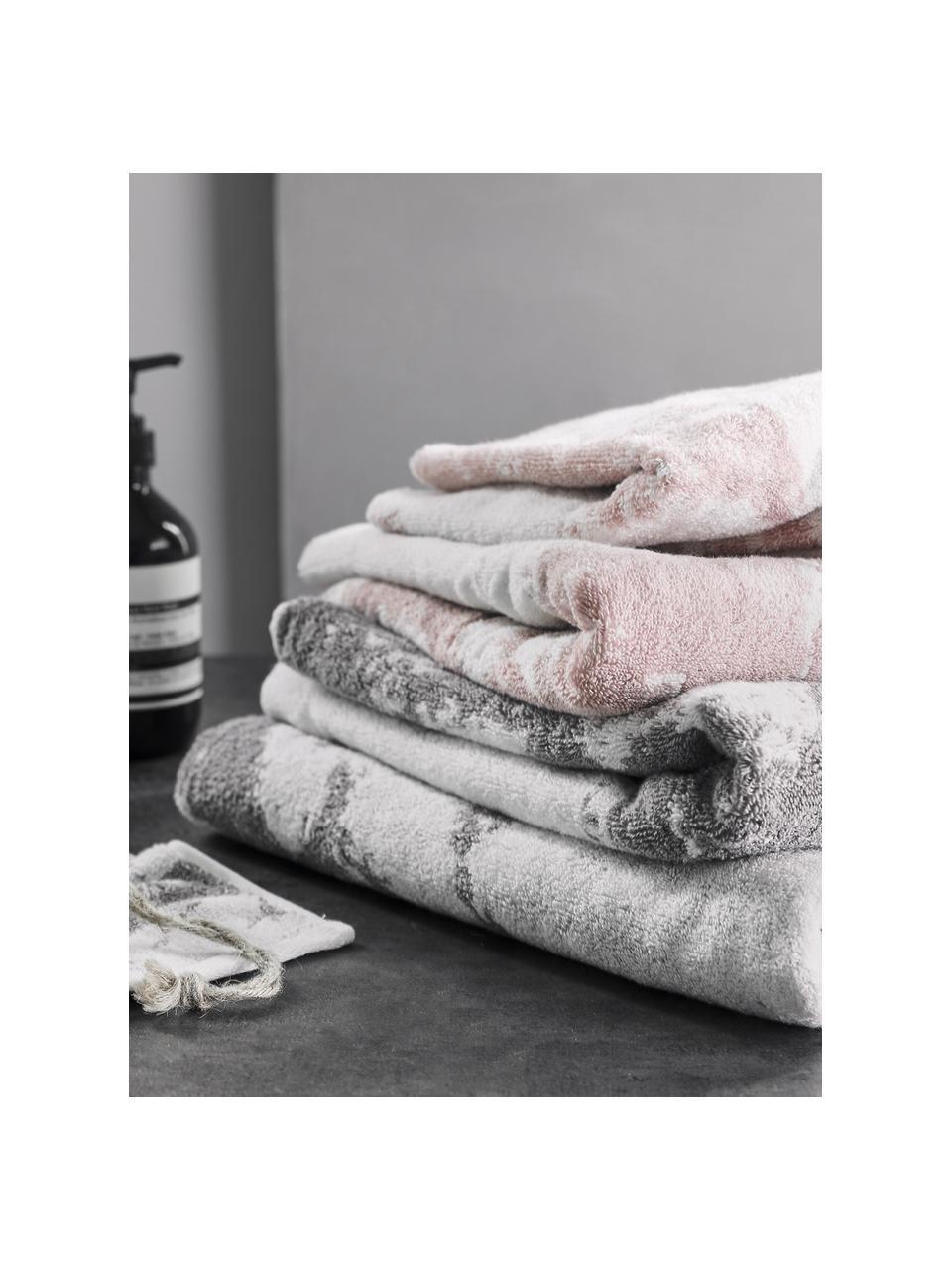 Komplet ręczników Marmo, 3 elem., Blady różowy, kremowobiały, Komplet z różnymi rozmiarami