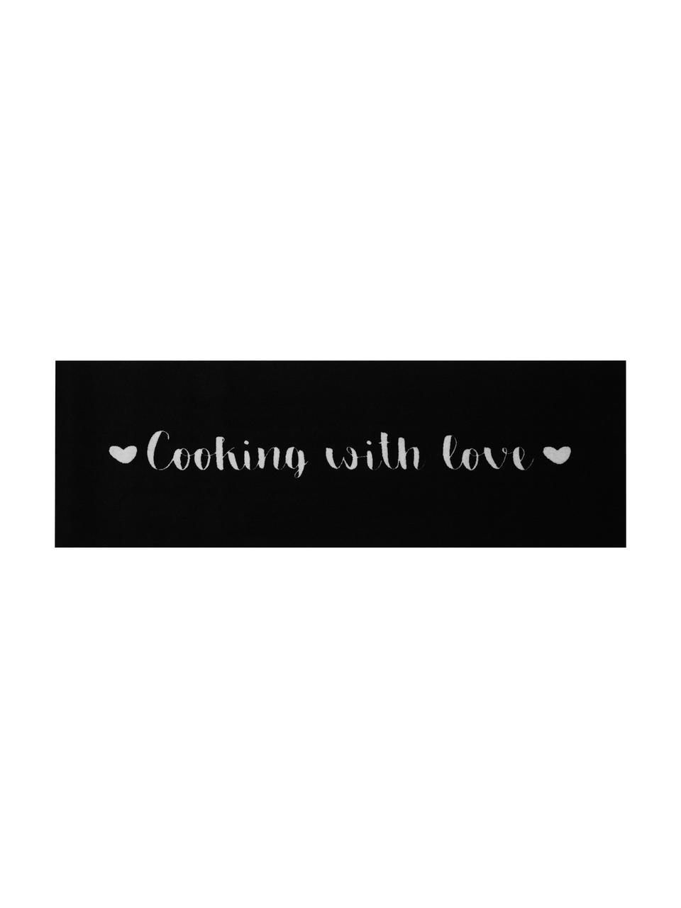 Tapis de cuisine antidérapantCooking with Love, Blanc à taches noires
