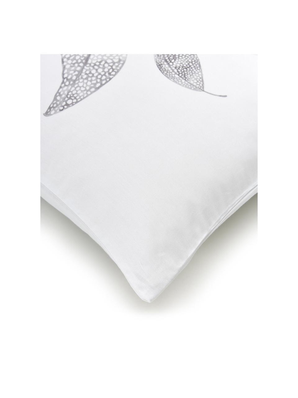 Baumwollsatin-Wendebettwäsche Carly mit Blätterprint, Webart: Satin Fadendichte 200 TC,, Grau, Weiß, 135 x 200 cm + 1 Kissen 80 x 80 cm