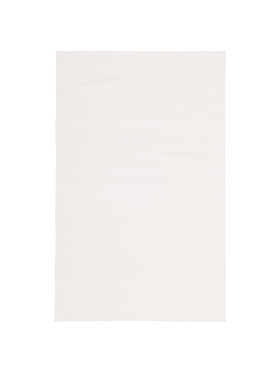 Dünner Baumwollteppich Agneta in Cremeweiß, handgewebt, 100% Baumwolle, Cremeweiß, B 200 x L 300 cm (Größe L)