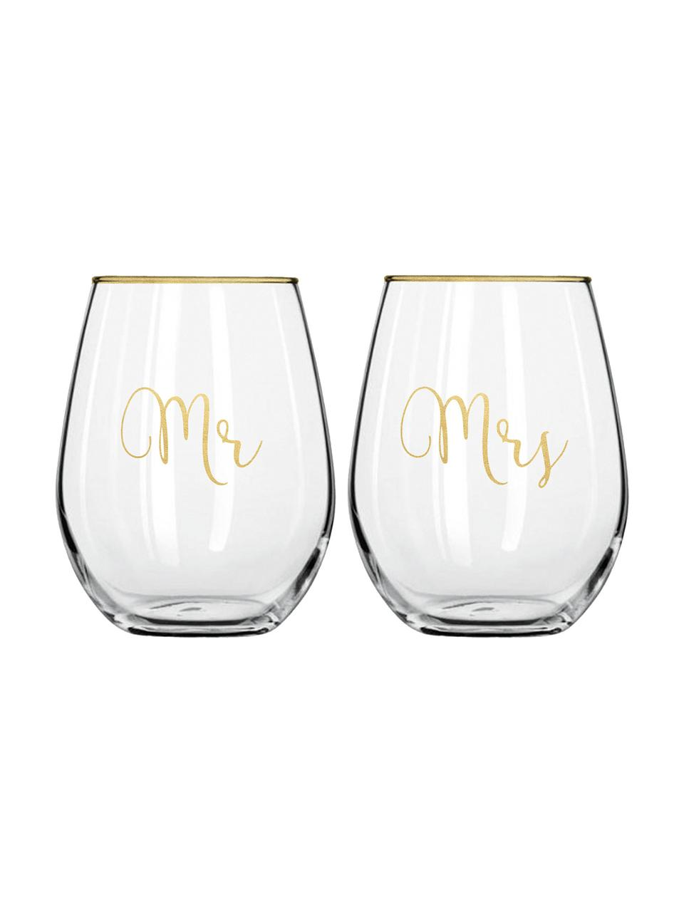 Set 2 bicchieri con scritta dorata Mr and Mrs, Vetro, Trasparente, dorato, Ø 10 x Alt. 13 cm