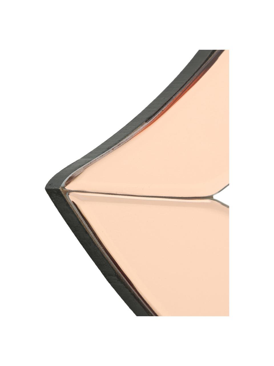 Wandobjekt Heara aus gefärbtem Spiegelglas, Rahmen: Metall, beschichtet, Spiegelfläche: Spiegelglas, gefärbt, Schwarz, Rosa, 40 x 20 cm
