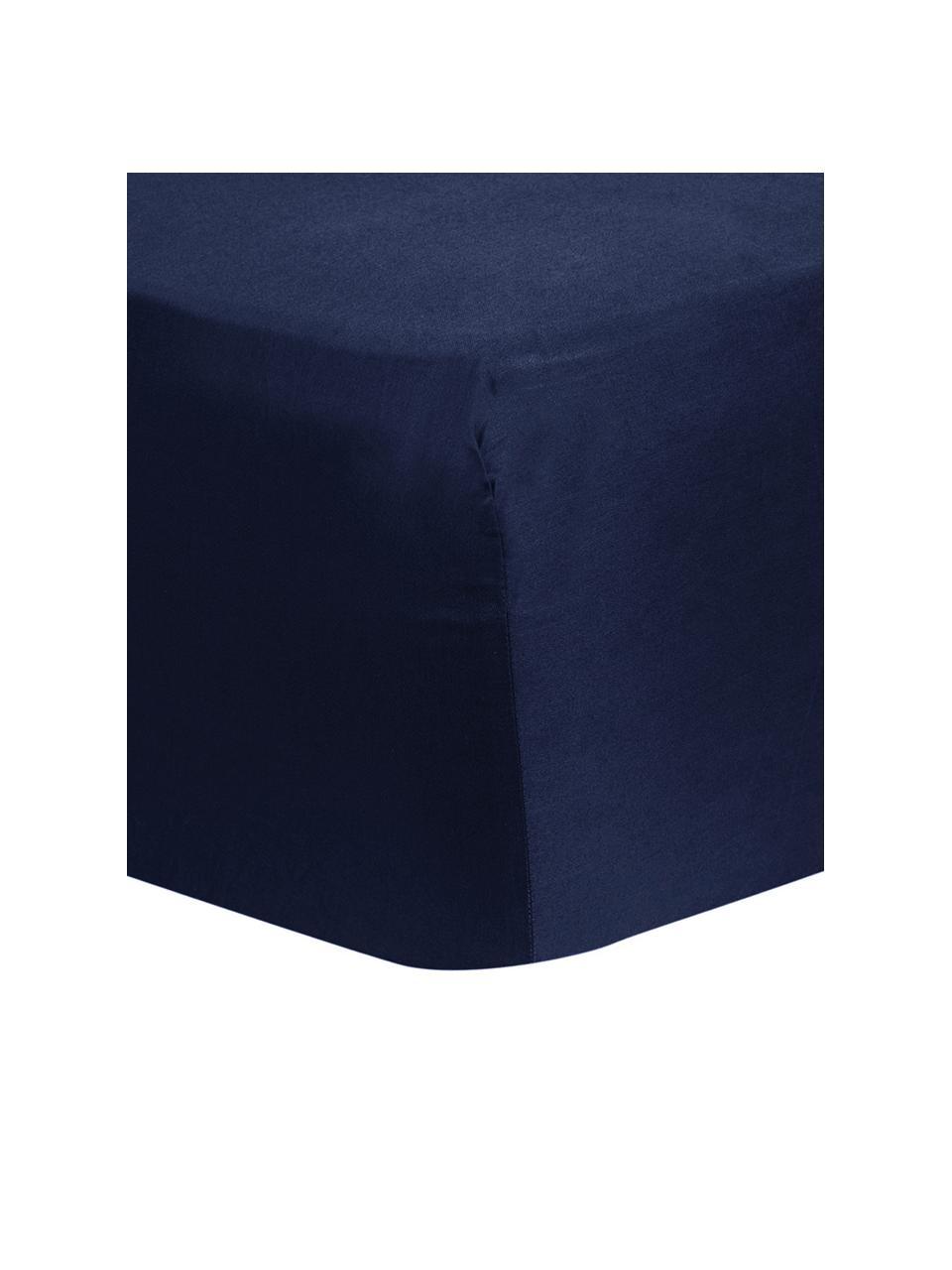 Lenzuolo con angoli in raso di cotone blu scuro Comfort, Blu scuro, Larg. 180 x Lung. 200 cm