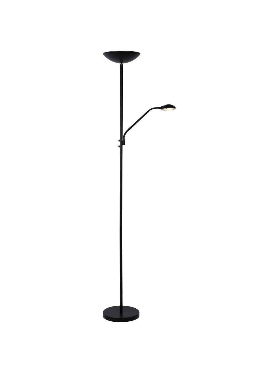 Großer Dimmbarer LED-Deckenfluter Zenith mit Leselampe, Lampenschirm: Metall, Lampenfuß: Metall, Schwarz, 53 x 180 cm