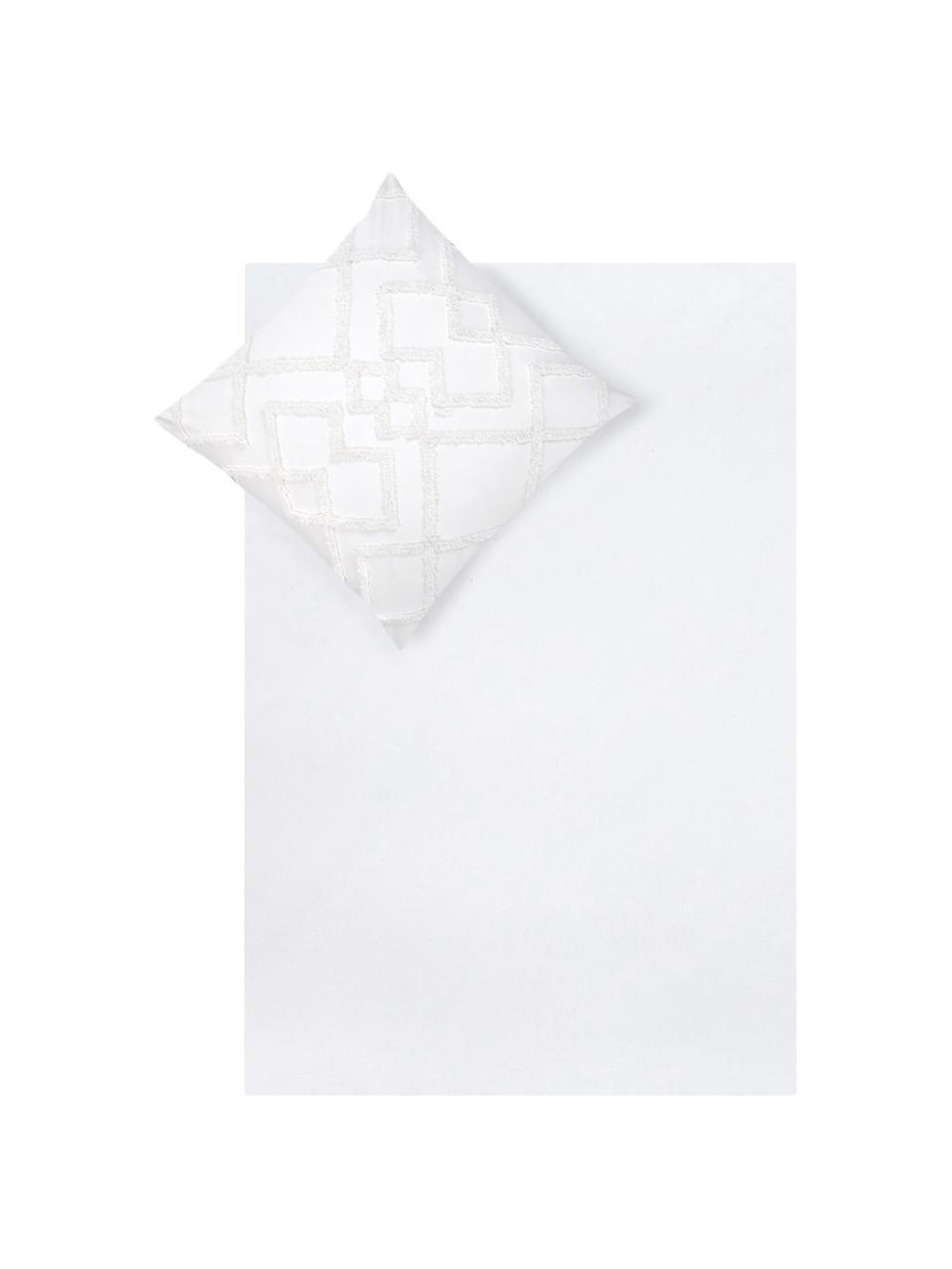 Baumwollperkal-Bettwäsche Faith mit getufteter Verzierung, Webart: Perkal Fadendichte 180 TC, Weiss, 155 x 220 cm + 1 Kissen 80 x 80 cm