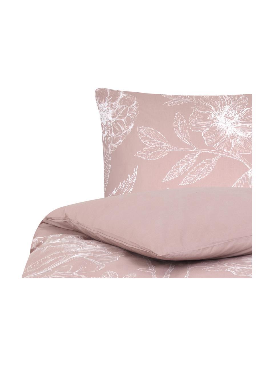 Baumwollperkal-Bettwäsche Keno mit Blumenprint, Webart: Perkal Fadendichte 180 TC, Altrosa, Weiß, 135 x 200 cm + 1 Kissen 80 x 80 cm