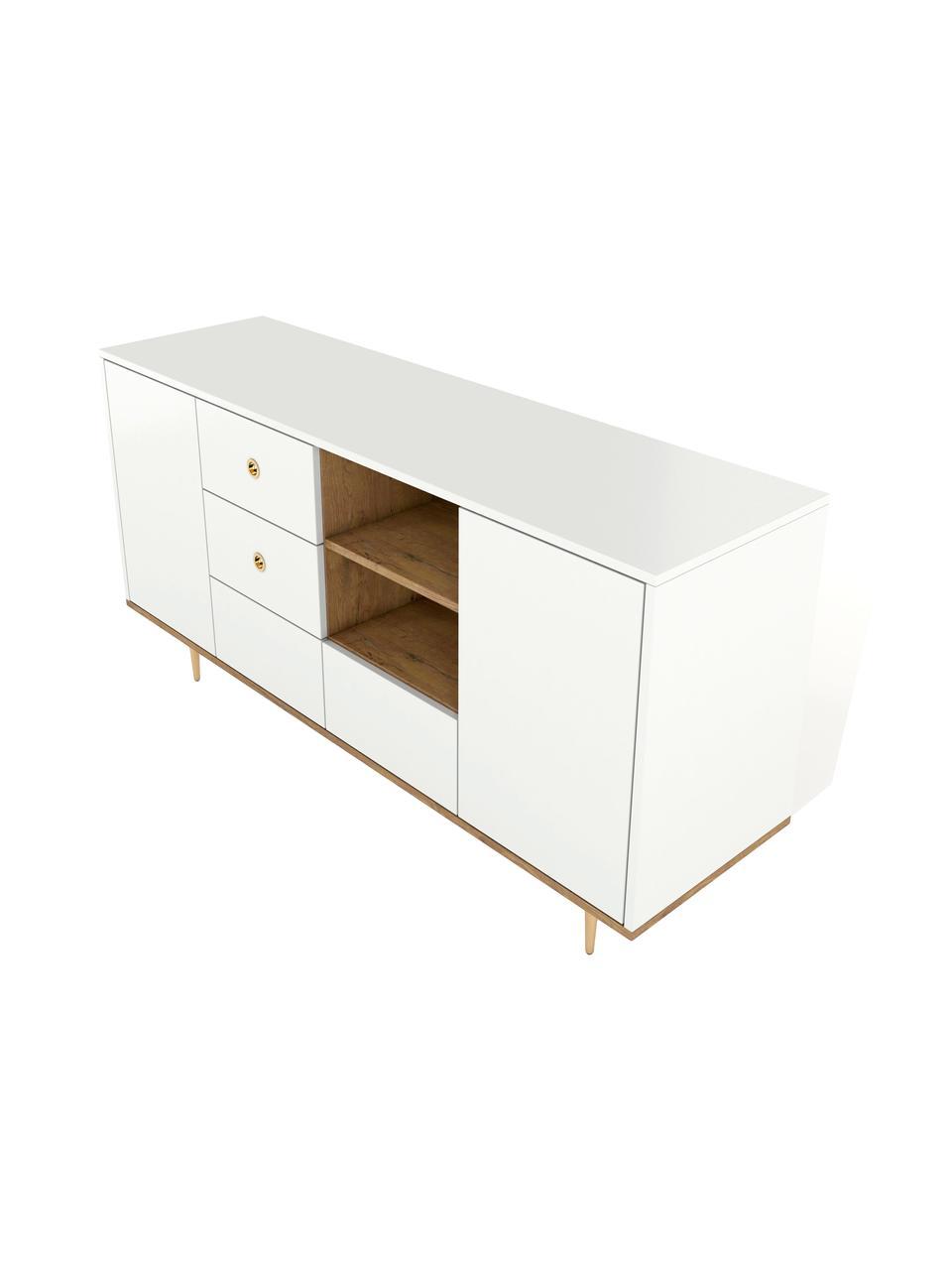 Modernes Sideboard Harmoni in Weiß, Korpus: Hochdichte Holzfaserplatt, Weiß, 160 x 83 cm