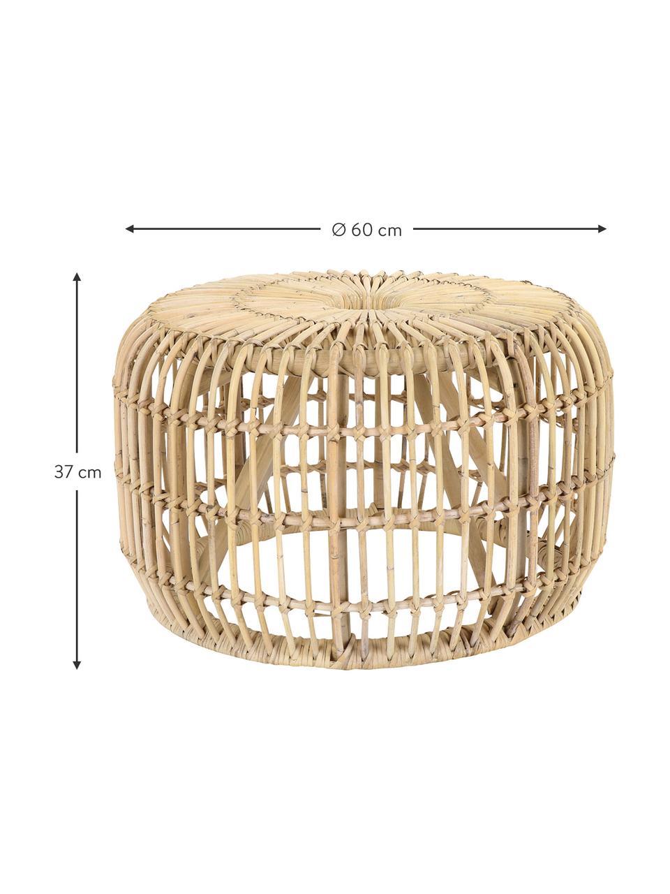 Runder Rattan-Beistelltisch Kim, Rattan, naturbelassen, Rattan, Ø 60 x H 37 cm