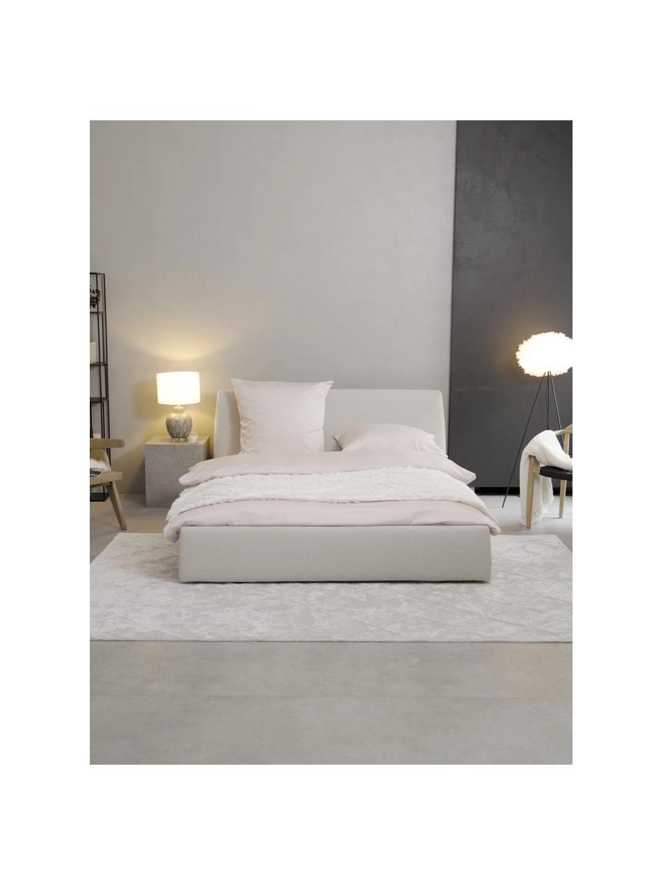 Gestoffeerd bed Cloud in beige, Frame: Massief grenenhout en hou, Bekleding: Fijn gestructureerde gewe, Geweven stof beige, 180 x 200 cm