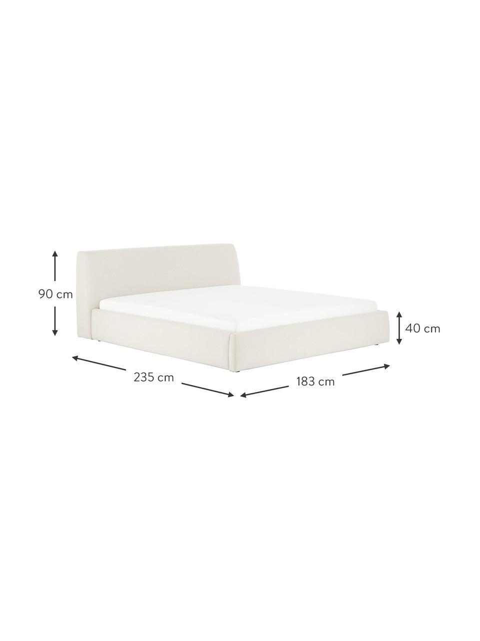 Łóżko tapicerowane Cloud, Korpus: lite drewno sosnowe, mate, Tapicerka: tkanina o drobnej struktu, Beżowy, S 180 x D 200 cm