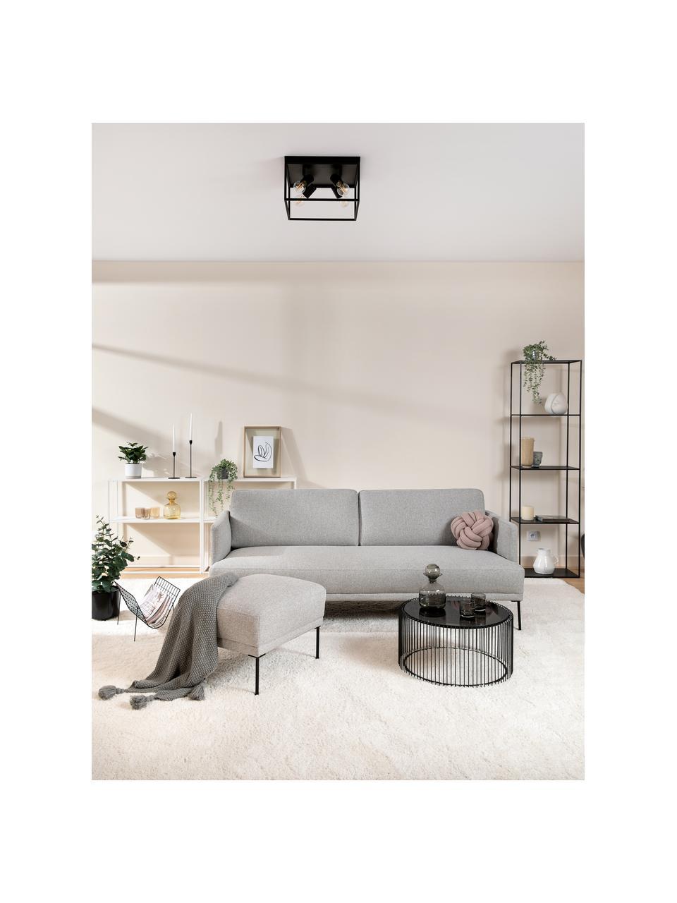 Sofa Fluente (3-Sitzer) in Hellgrau mit Metall-Füßen, Bezug: 80% Polyester, 20% Ramie , Gestell: Massives Kiefernholz, Füße: Metall, pulverbeschichtet, Webstoff Hellgrau, B 196 x T 85 cm