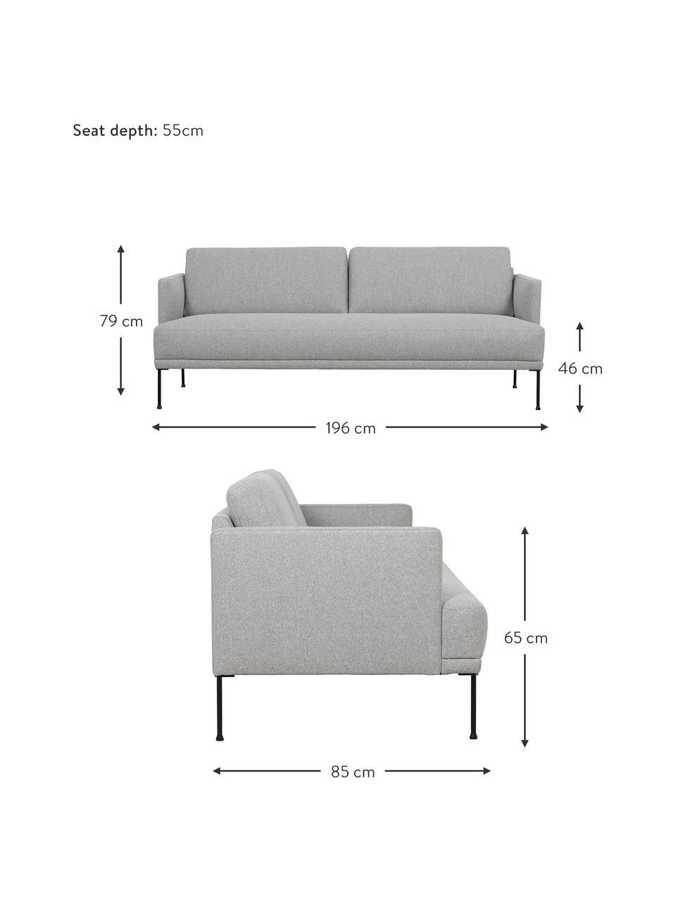 Canapé 3places tissu gris clair pieds en métal Fluente, Tissu gris clair