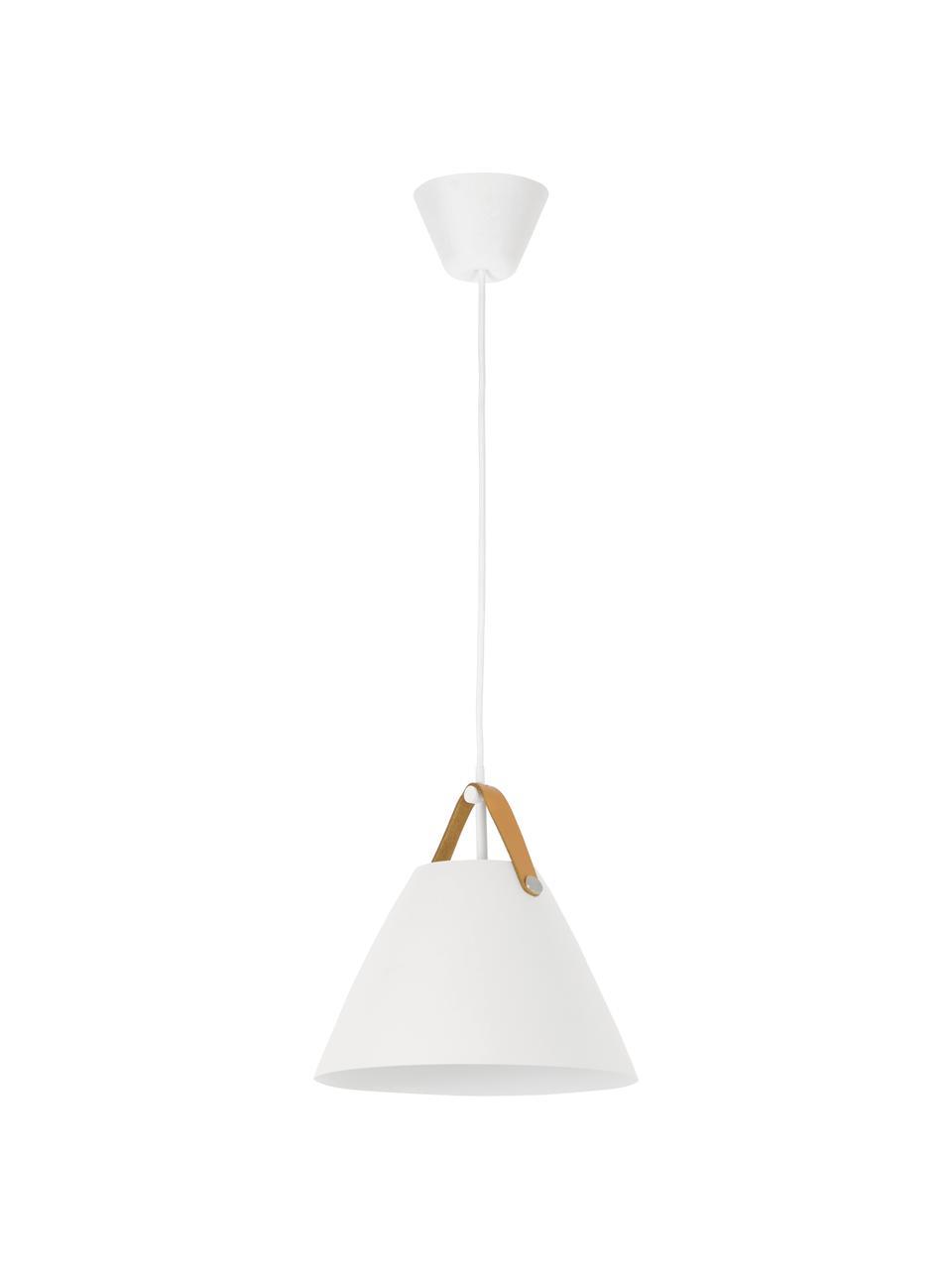 Pendelleuchte Strap mit austauschbarem Lederband, Lampenschirm: Metall, pulverbeschichtet, Baldachin: Kunststoff, Weiß, Ø 36 x H 35 cm