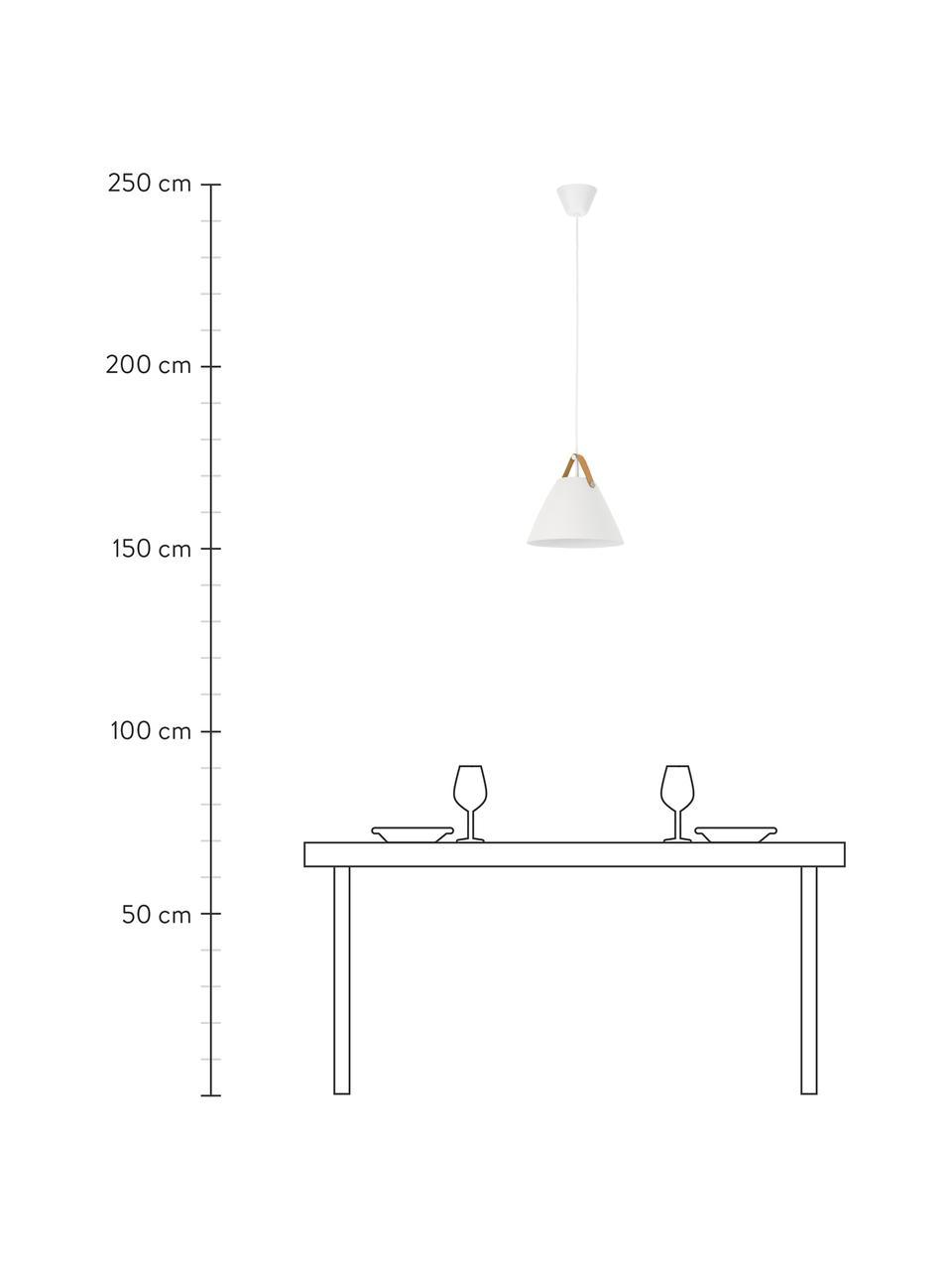 Lampada a sospensione con cinturino in pelle Strap, Paralume: metallo verniciato a polv, Baldacchino: materiale sintetico, Bianco, Ø 36 x Alt. 35 cm