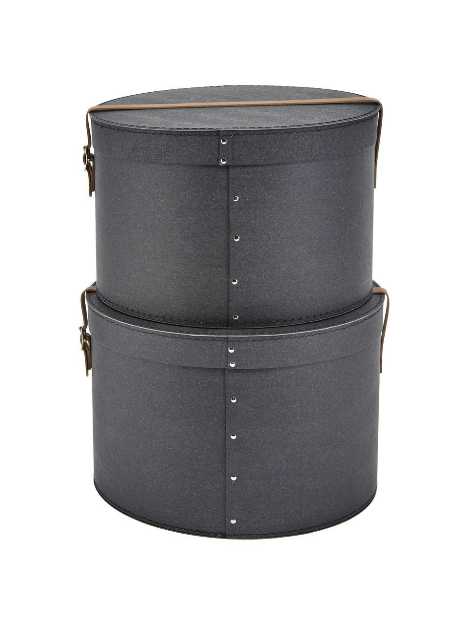Set 2 scatole Rut, Scatola: cartone massiccio, stampa, Manico: pelle, metallo, La scatola all'esterno: nera Scatola interna: nera Maniglia: beige, Set in varie misure