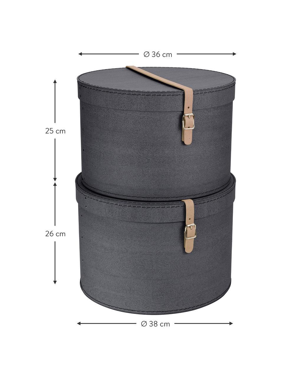 Komplet pudełek do przechowywania Rut, 2elem., Pudełko na zewnątrz: czarny Pudełko wewnątrz: czarny Uchwyt: beżowy, Komplet z różnymi rozmiarami