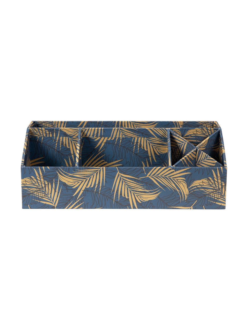 Organizer da ufficio Elisa, Solido, cartone laminato, Dorato, blu grigio, Larg. 33 x Alt. 13 cm