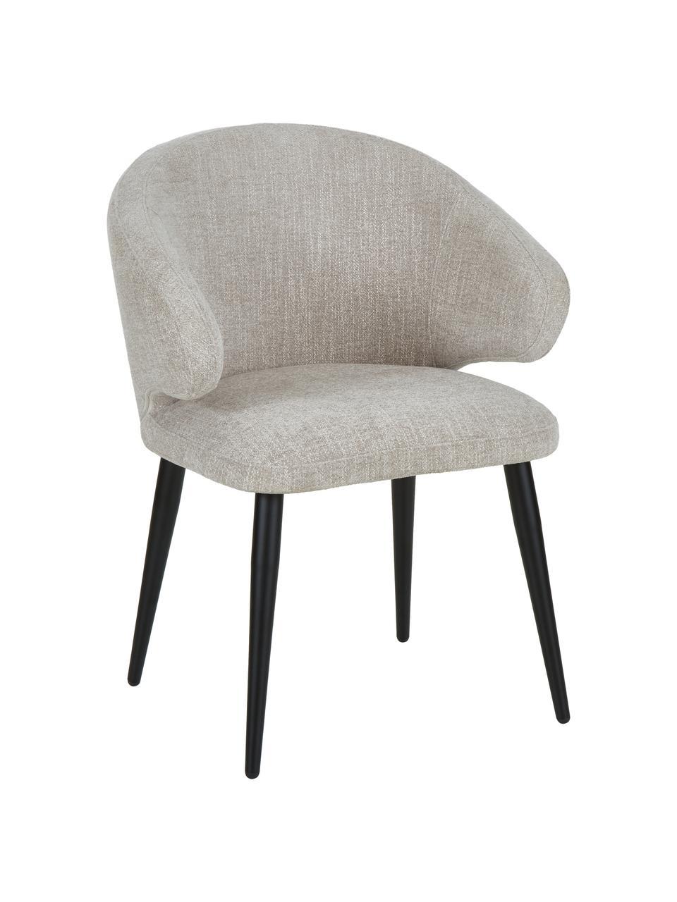 Bouclé armstoel Celia in modern design, Bekleding: bouclé (80% polyester, 20, Poten: gepoedercoat metaal, Geweven stof lichtgrijs, B 57 x D 62 cm