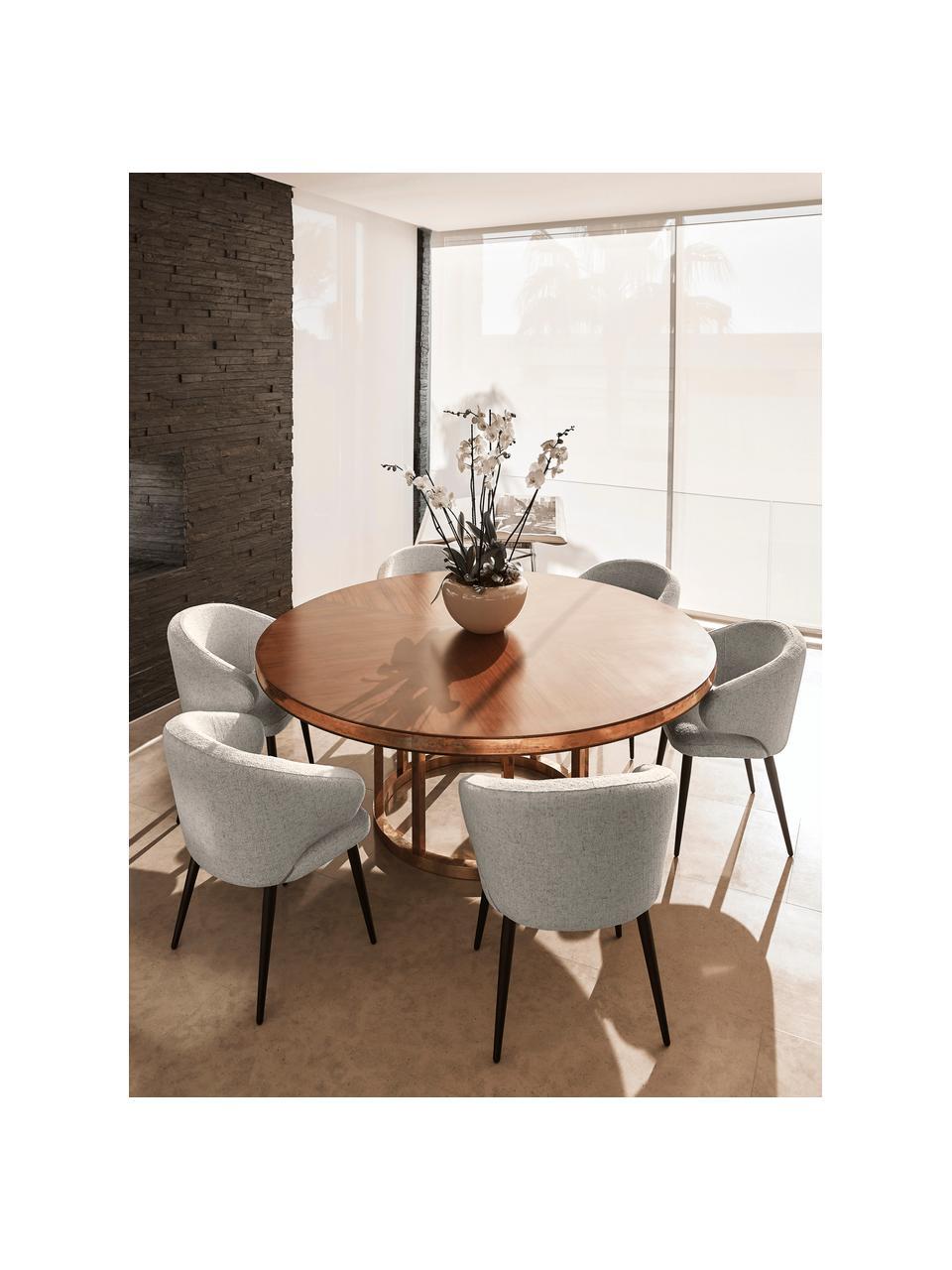 Krzesło z podłokietnikami bouclé Celia, Tapicerka: bouclé (80% poliester, 20, Nogi: metal malowany proszkowo, Jasny szary, S 57 x G 62 cm