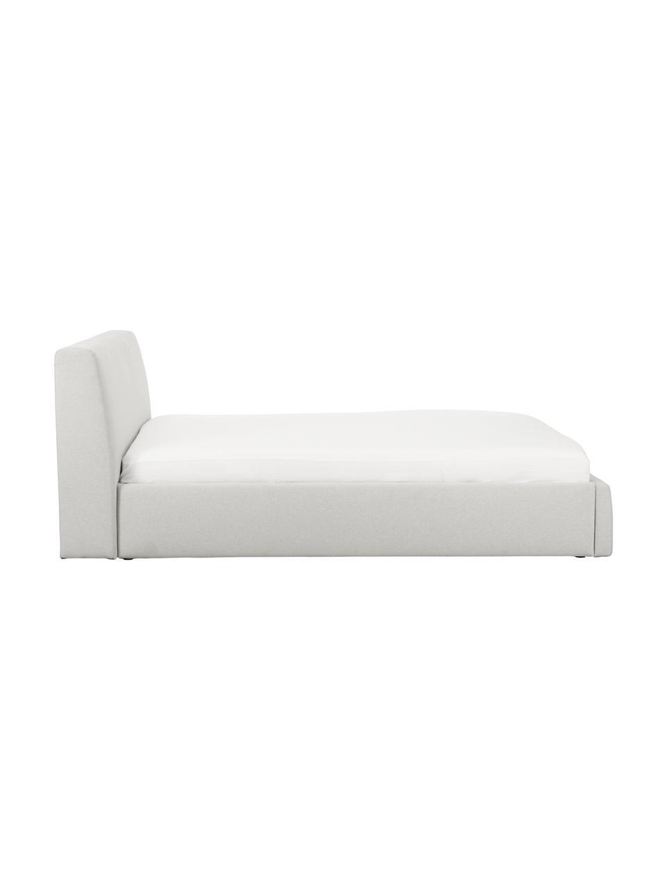 Łóżko tapicerowane Cloud, Korpus: lite drewno sosnowe, mate, Tapicerka: tkanina o drobnej struktu, Jasny szary, S 180 x D 200 cm