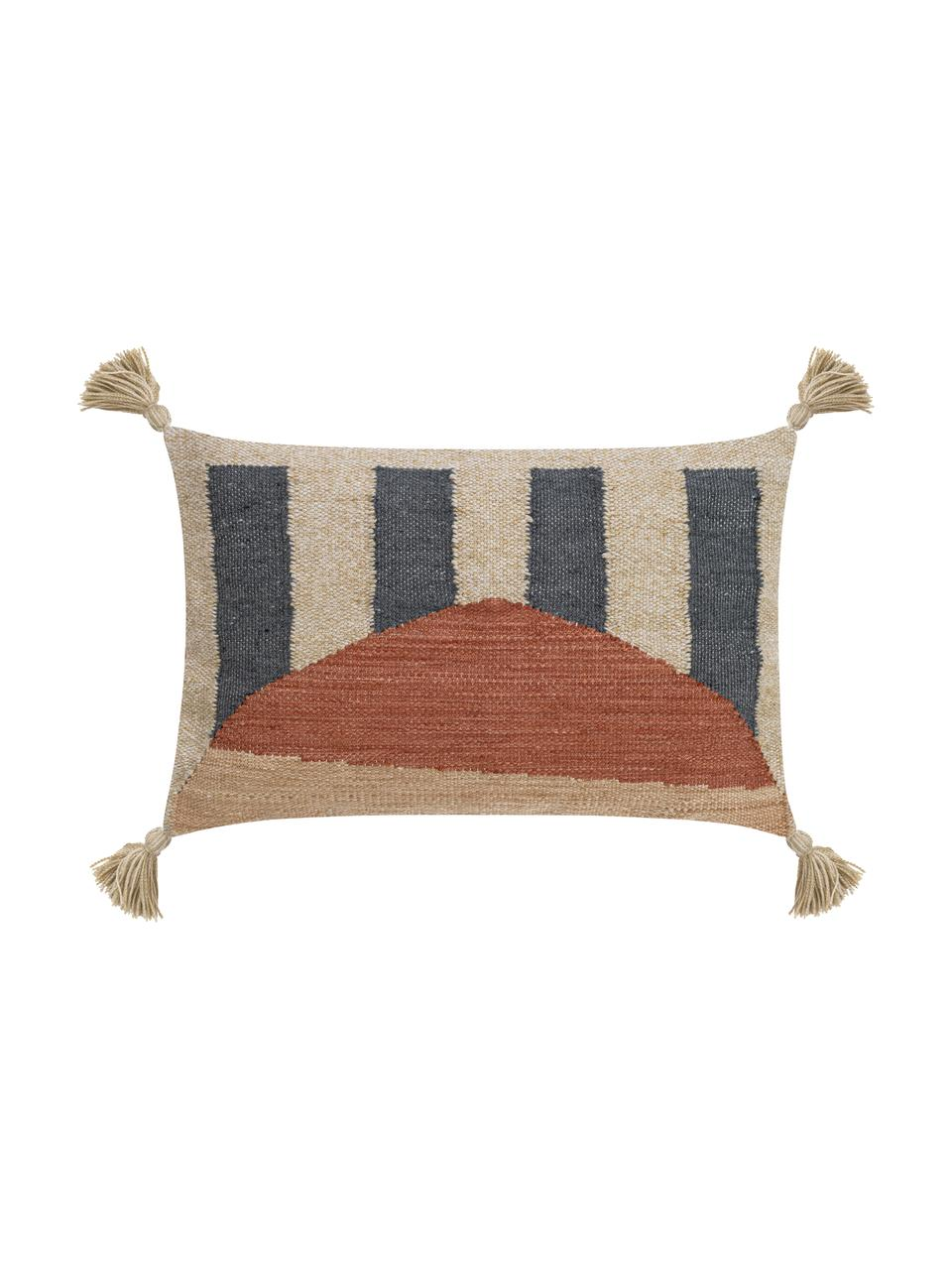 Federa arredo con nappe Nouria, Retro: 100% cotone, Terracotta, tonalità beige, nero, Larg. 40 x Lung. 60 cm