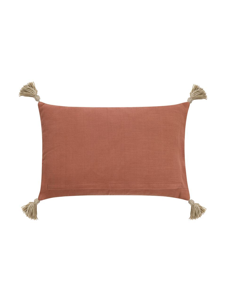Ethno-Kissenhülle Nouria mit Quasten und Struktur-Oberfläche, Vorderseite: 100% Polyester, Rückseite: 100% Baumwolle, Terrakotta, Beigetöne, Schwarz, 40 x 60 cm