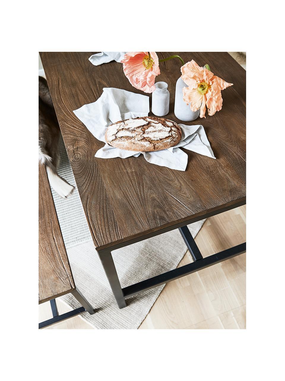Eettafel Raw met mangohout, 180 x 90 cm, Tafelblad: met donkere finish gebors, Frame: gepoedercoat ijzer, Tafelblad: mangohout met vintage look. Frame: zwart, B 180 x D 90 cm