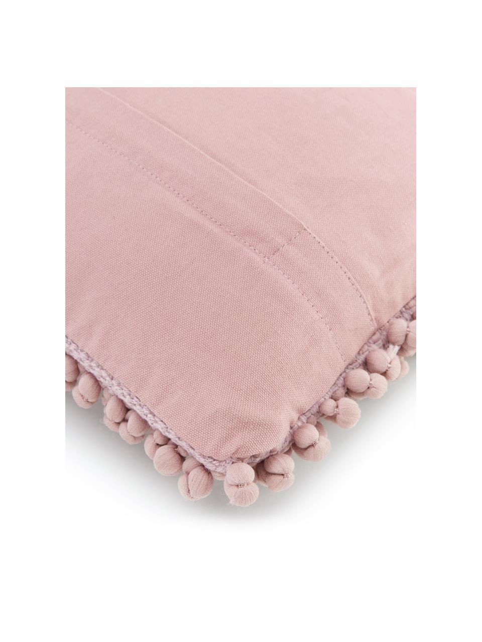 Kissenhülle Iona mit kleinen Stoffkugeln in Altrosa, Vorderseite: 76% Polyester, 24% Baumwo, Rückseite: 100% Baumwolle, Rosa, 30 x 50 cm