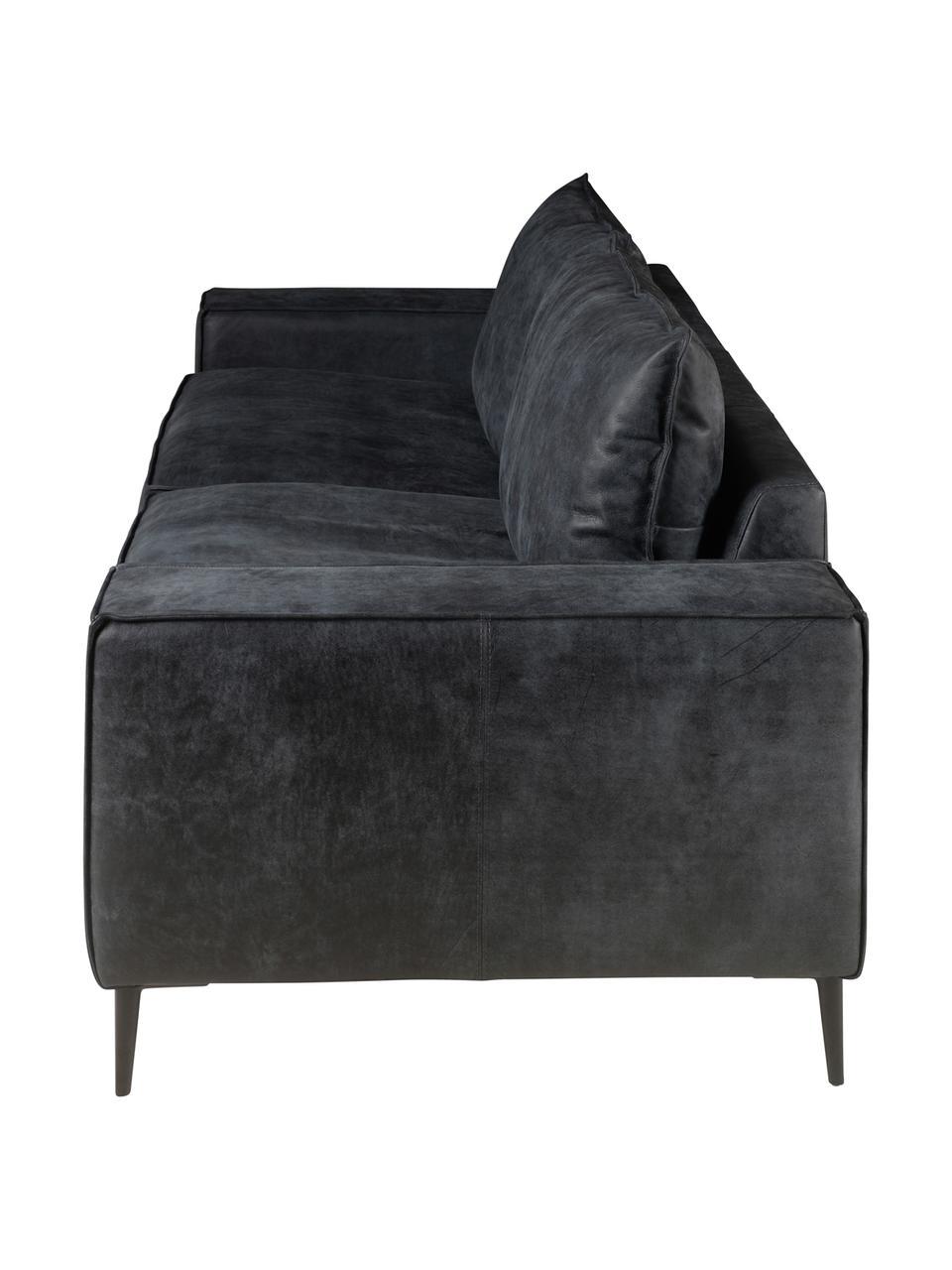 Divano 3 posti in pelle nera-grigia Brett, Rivestimento: pelle bovina liscio, Struttura: alluminio, verniciato, Nero, grigio, Larg. 215 x Prof. 90 cm