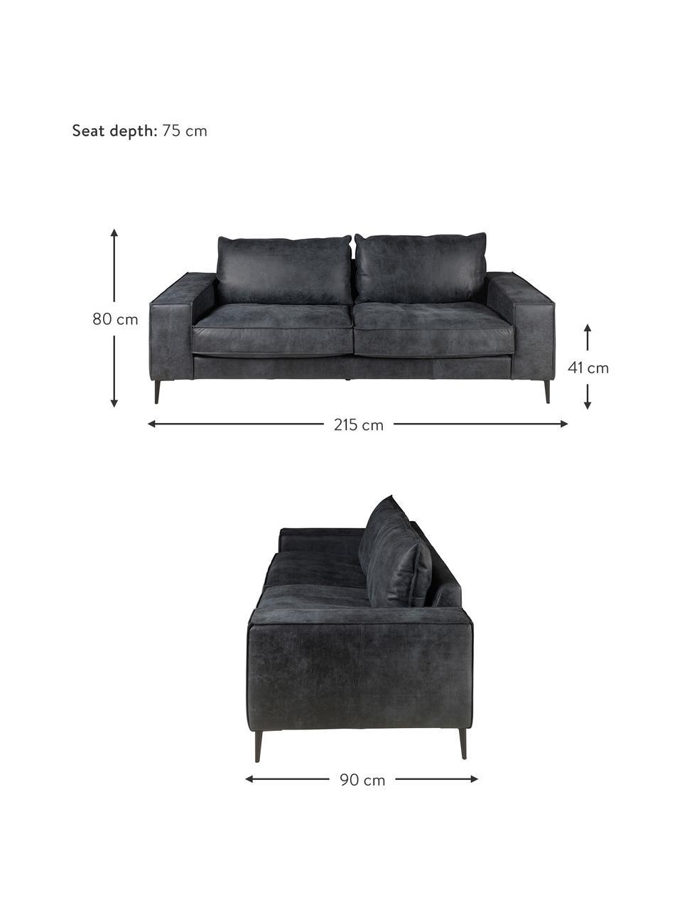 Leder-Sofa Brett (3-Sitzer) in Schwarz-Grau im Industrial Design, Bezug: Rindsleder, glatt, Gestell: Aluminium, lackiert, Leder Schwarz-Grau, B 215 x T 90 cm