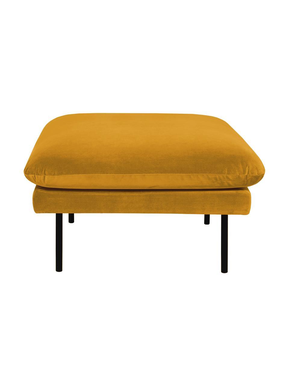 Poggiapiedi da divano in velluto giallo senape Moby, Rivestimento: velluto (copertura in pol, Struttura: legno di pino massiccio, Piedini: metallo verniciato a polv, Velluto giallo senape, Larg. 78 x Alt. 48 cm