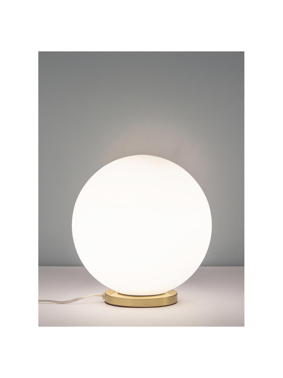 Petite lampe à poser boule Beth, Blanc, laiton