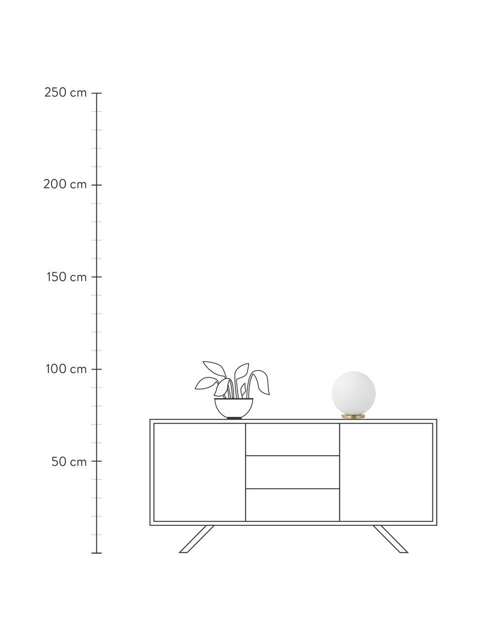 Lampa stołowa ze szkła opalowego Beth, Biały, mosiądz, Ø 25 x W 26 cm